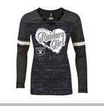 Oakland Raiders New Era Girls Triblend Long Sleeve Tee