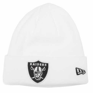 Oakland Raiders New Era Gridiron White Knit Hat - Click to enlarge