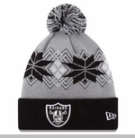 Oakland Raiders New Era Intarsia Pom Knit Hat