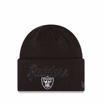 Oakland Raiders New Era Metallic Black Knit Hat