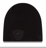 Oakland Raiders New Era Ribbed Knit Black Tonal Knit Hat