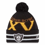 Oakland Raiders New Era Super Wide Point XV Knit Hat