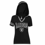 Oakland Raiders New Era Womens Foil Short Sleeve Hoodie
