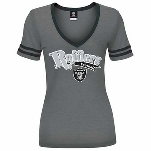 Oakland Raiders New Era Womens V-neck Foil Tee - Click to enlarge