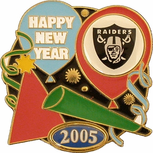 Oakland Raiders New Years Lapel Pin - Click to enlarge