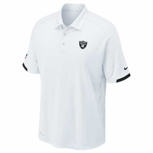 Oakland Raiders Nike Dri Fit Practice White Polo - Click to enlarge
