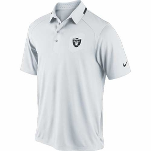 Oakland Raiders Nike Elite Coaches White Polo - Click to enlarge