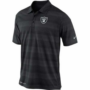 Oakland Raiders Nike Football Preseason Polo Black - Click to enlarge
