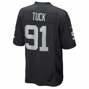 Oakland Raiders Nike Justin Tuck Black Game Jersey - Click to enlarge