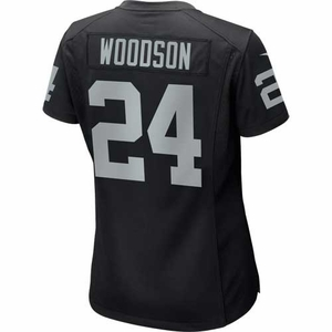 Oakland Raiders Nike Womens Charles Woodson Black Game Jersey - Click to enlarge