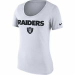 Oakland Raiders Nike Womens Cotton Lockup White Tee