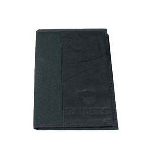 Oakland Raiders Nylon/Leather Mini Padfolio - Click to enlarge