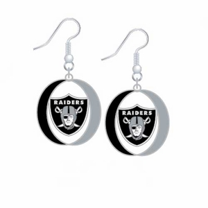 Oakland Raiders Oval Dangle Earrings - Click to enlarge