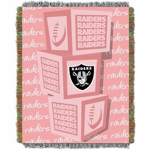 Oakland Raiders Pastel Blocks Baby Blanket - Click to enlarge
