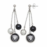 Oakland Raiders Pearl Dangle Earrings