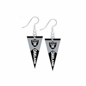 Oakland Raiders Pennant Dangle Earrings - Click to enlarge