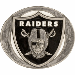 Oakland Raiders Pewter Sport Belt Buckle - Click to enlarge