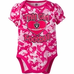 Oakland Raiders Pink Infant Camo Bodysuit