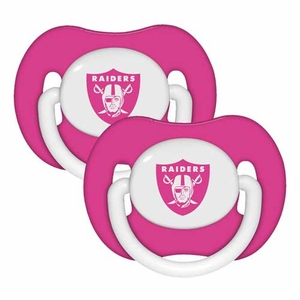 Oakland Raiders Pink Two Piece Pacifier Set - Click to enlarge