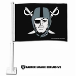 Oakland Raiders Pirate Logo Car Flag