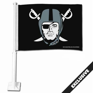Oakland Raiders Pirate Logo Car Flag - Click to enlarge