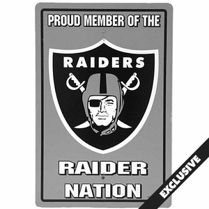 Oakland Raiders Plastic Proud Member Sign - Click to enlarge