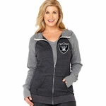 Oakland Raiders Plus Size Color Block Zip Jacket