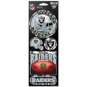 Oakland Raiders Prismatic 4.5 x 11 Decal Set - Click to enlarge