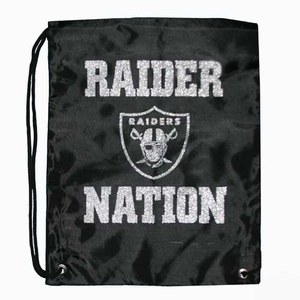 Oakland Raiders Raider Nation Glitter Drawstring Bag - Click to enlarge