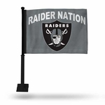 Oakland Raiders Raider Nation Grey Car Flag