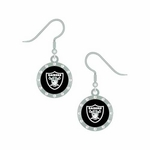 Oakland Raiders Rhinestone J-Hook Earrings
