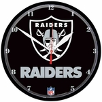 Oakland Raiders Round Shield Logo Clock