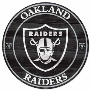 Oakland Raiders Round Wood Sign - Click to enlarge