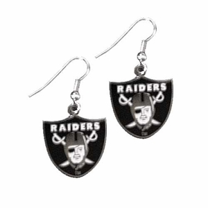 Oakland Raiders Shield Wire Dangle Earrings - Click to enlarge