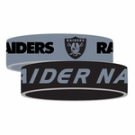 Oakland Raiders Silicone Bracelet Two Pack