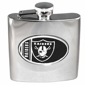Oakland Raiders Silver Flask - Click to enlarge