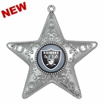 Oakland Raiders Silver Star Ornament