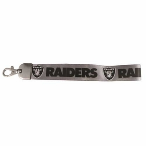 Oakland Raiders Silver Wristlet Lanyard - Click to enlarge