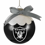 Oakland Raiders Snowcap Ball Ornament