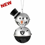 Oakland Raiders Snowman Bell Ornament