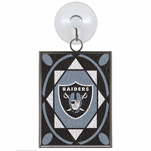 Oakland Raiders Stained Glass Ornament - Click to enlarge