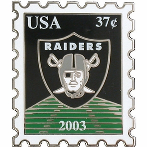 Oakland Raiders Stamp Lapel Pin - Click to enlarge