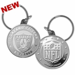 Oakland Raiders Steel Medallion Keychian