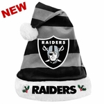 Oakland Raiders Striped Santa Hat
