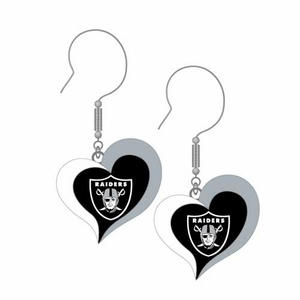 Oakland Raiders Swirl Heart Earrings - Click to enlarge
