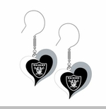 Oakland Raiders Swirl Heart Earrings