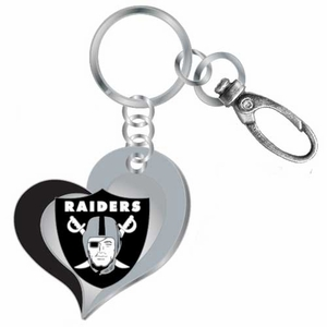 Oakland Raiders Swirl Heart Key Ring - Click to enlarge
