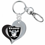 Oakland Raiders Swirl Heart Key Ring