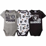 Oakland Raiders Three Pack Bodysuit Set