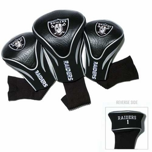 Oakland Raiders Three Pack Contour Headcovers - Click to enlarge